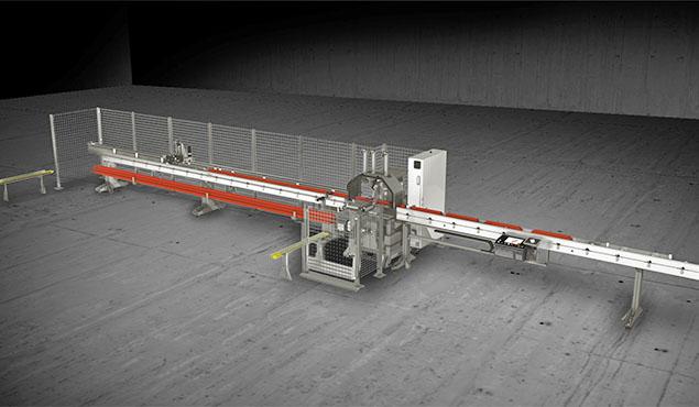 A képen a termék, egy Emmegi Vegamatic Pusher T automata daraboló fűrész látható.