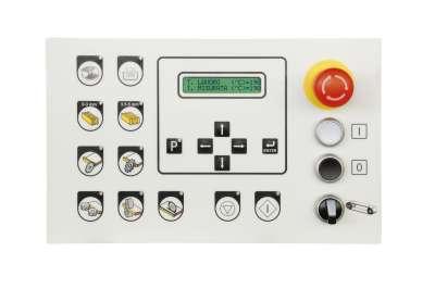 A képen az me20 típusú élzárógép kezelőpanelje látható, annak gombjaival és kapcsolóival.