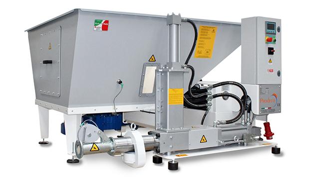 A képen a termék, egy Prodeco VERTICAL brikettáló gépek látható.